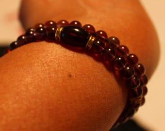 Beautiful twin Amethyst-beaded bracelets; handmade, shamballa, purple, cute, casual-wear, party-wear
