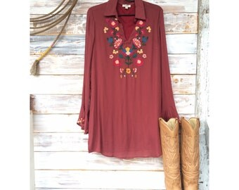 "The ""Embry"" - Wine Colored Embroidered Dress"
