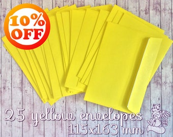 SALE 10% OFF 25 yellow envelopes in set! 115x163 mm A6 postal envelopes with adhesive strip