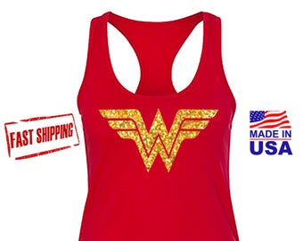 Wonder Woman Shirt Running Tank Top, Wonder Woman Marathon with Gold Glitter Emblem. Costume, Wonder Women Tank, FAST SHIPPING