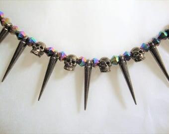 Spiked Necklace, Swarovski Crystals, Skull Jewelry, Skull Necklace, Swarovski Jewelry, Spiked Jewelry, Spikes, Skulls, Goth,
