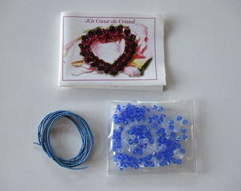 Blue and clear Swarovski Pearl Crystal pendant heart Kit.