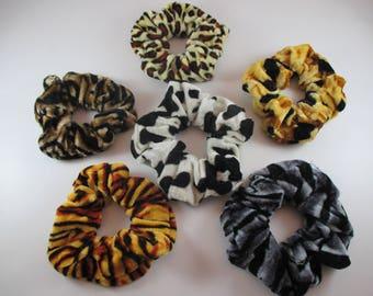 Set of 6 animal print Scrunchies, Velvet hair Scrunchies elastic ties.