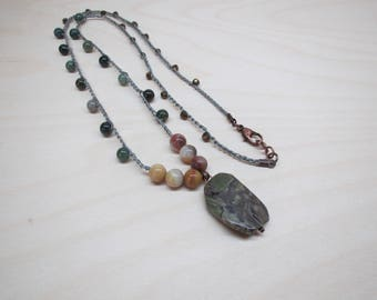 Crocheted beads necklace with green agate pendant, jasper stone beads, glass beads