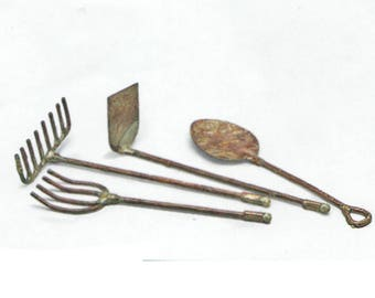 Fairy Garden Tiny Yard Tools, Miniature Rustic Garden Tools For Fairy  Gardens, Terrariums,