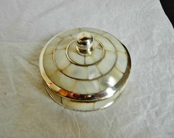 Exquisite circular silver plated and mother of pearl lided trinket box