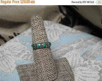 ON SALE stunning vintage  sterling silver malachite and marcasite ring size 7