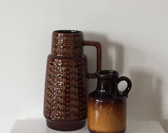 Set of two 70s boho ceramic vases, AK ceramic 645/25 and Scheurich 414-16