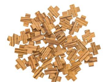25 Small Olive Wood Jerusalem Crosses 2.1 cm