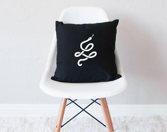Black throw pillow with insert / minimal home decor / Snake design cushion /
