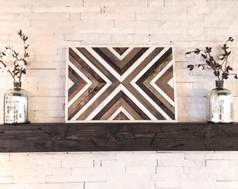 Reclaimed Wood Wall Art - Modern Wood Decor - Farmhouse Decor - Rustic Wall Hanging - Barn wood Art - Geometric Wall Art - Wood Mosaic