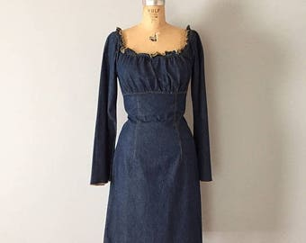 20% OFF SALE... indigo off the shoulder mini dress | 90s denim high waisted baby doll dress