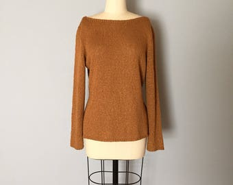cinnamon linen pullover | fishnet knitted linen sweater | boatneck layering cardigan