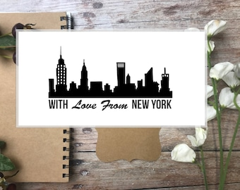 NEW YORK  stamp, With Love from New York custom rubber stamp-  Handmade wooden handle custom stamp