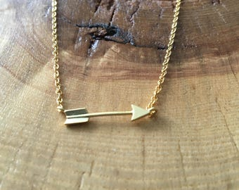 Gold Arrow Charm Necklace; gold arrow necklace, gift for her, bridesmaid gift, gift for sister