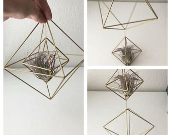 Geometric Octahedron Himmeli - Hanging Mobile - Coffee Table Decor - Minimalist Orb - Brass Cube - Air Plant Holder - Wedding Centerpiece
