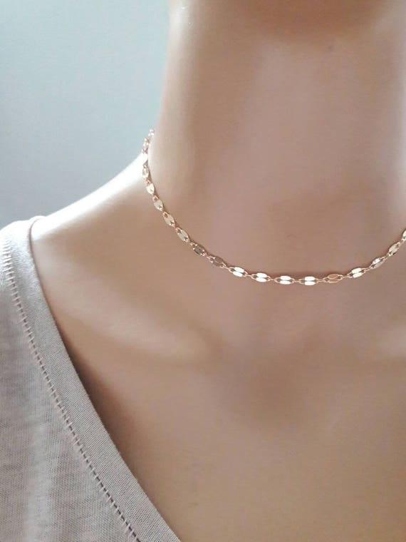 Sequin Golden Chain Choker Necklace WMVVrs