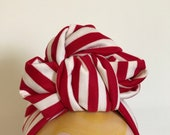 Headband Red/White Striped 1940s Style Turban/Headscarf with Slounchy Knot.