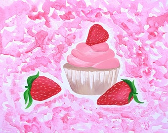 Strawberry Cupcake Painting, Colorful Kitchen Decor, Summer Decor, Nursery Wall Decor, Watercolor Painting