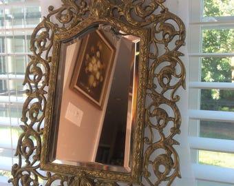 Antique Brass Bacchus Mirror by P.E. Guerin