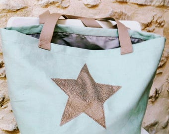 "tote bag ""Zabou"" green star with water"