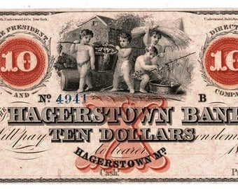 Hagerstown Bank of Maryland 10 Dollar Bank Note Mid 1800's - Uncirculated