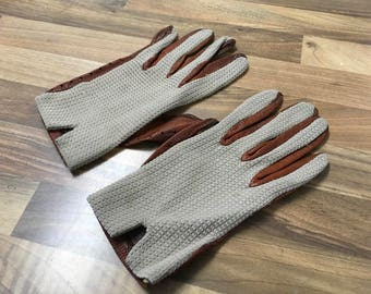 Vintage Dark Tan Leather and Crochet Driving Gloves Medium Size Well Worn