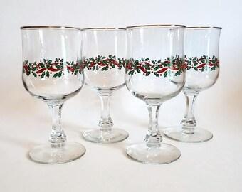 Gold Rimmed Christmas Glasses