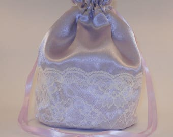 Lilac Satin & White Lace Dolly Bag / Handbag Bride Communion Christening Wedding Bridesmaid