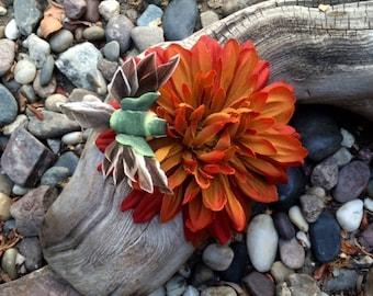 Burnt Orange Flower with Hummingbird hair clip
