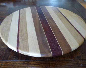 wood turned lazy susan turntable
