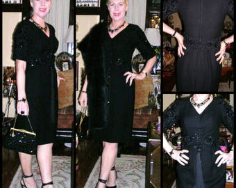 Vintage 50s black jet beaded, waist cinching beaded belt, satin lined 100% wool couture wiggle dress by Bris Houal of Beverley Hill size: 10