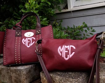 Monogrammed Purse and cosmetic Grommet 2 pc bag set in Wine - Personalized handbags
