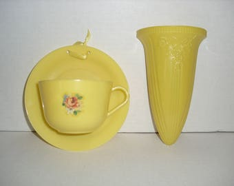 Two Vintage Yellow Wall Pockets.  An Ardee Product.  A United Product.
