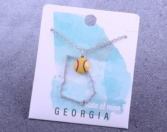 Customizable! State of Mine: Georgia Softball Enamel Necklace - Great Softball Gift!