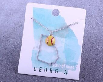 Customizable! State of Mine: Georgia Softball Enamel Necklace - Great Softball Gift!