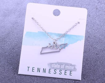 Customizable! State of Mine: Tennessee LAX Silver Lacrosse Necklace - Great Lacrosse Gift!