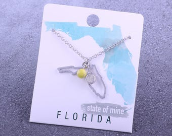 Customizable! State of Mine: Florida Tennis Racket Necklace - Great Tennis Gift!