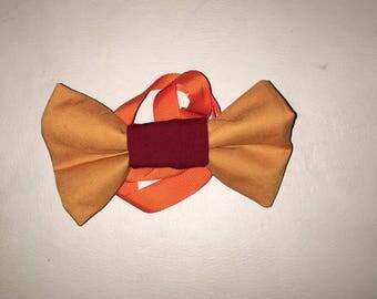 Orange and burgundy bow tie