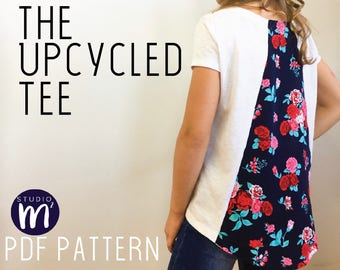 The Upcycled Tee - PDF Sewing Pattern - Godet T-Shirt - Recycled T-Shirt - Upcycle - Repurpose a Tee