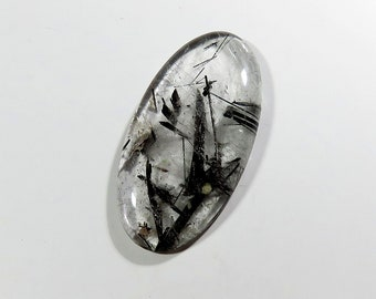 86Cts 53X27X7mm Tourmalinated Quartz Gemstone Cabochon Oval Excellent!!! Top AAA Quality Natural Tourmaline Quartz For Jewelry