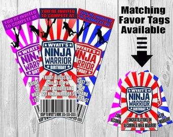 American Ninja Warrior Invitation, Ninja Warrior Birthday, Ninja Warrior Party, Ninja Warrior Invite, Favor Tags