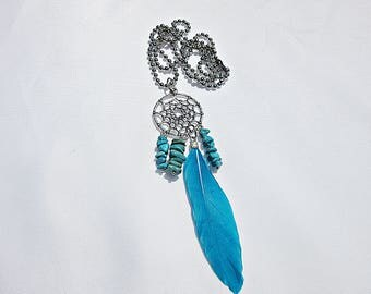 Dream catcher, necklace, follower, feathers, precious stone, ball chain, turquoise, Boho, Gypsy style, Native, woman, Charming, chain,