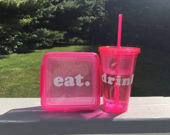 Think Pink Sandwich Container and Tumbler Set