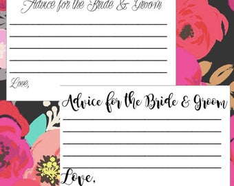 Advice Cards For the Bride and Groom - Customizable - Wedding - Bridal Shower