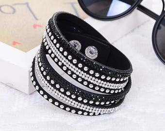 Black Vegan Leather Studded Rhinestone Wrap Bracelet - FREE SHIPPING - Summer Festival Jewelry - Sparkly Studded Bracelet - Cute Accessories
