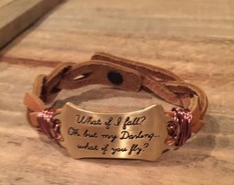 What if i fall? Brown braided leather bracelet