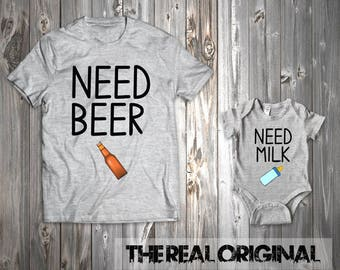 Need Beer Need Milk Father Son Matching Shirts - Family Father Matching Father's Day Shirt Matching Family Outfits Bodysuit RO245-RO246