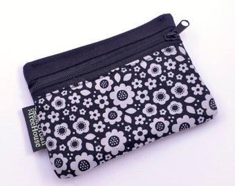 Small Fabric coin purse, Cute little grey flowers on black. gift/business card holder zipper pouch