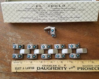 1950's Sterling Silver and Turquoise track link bracelet and earrings